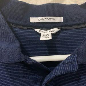 Calvin Klein liquid cotton blue polo shirt